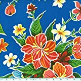 Oil Cloth Hibiscus Blue Fabric By The Yard by OilCloth International