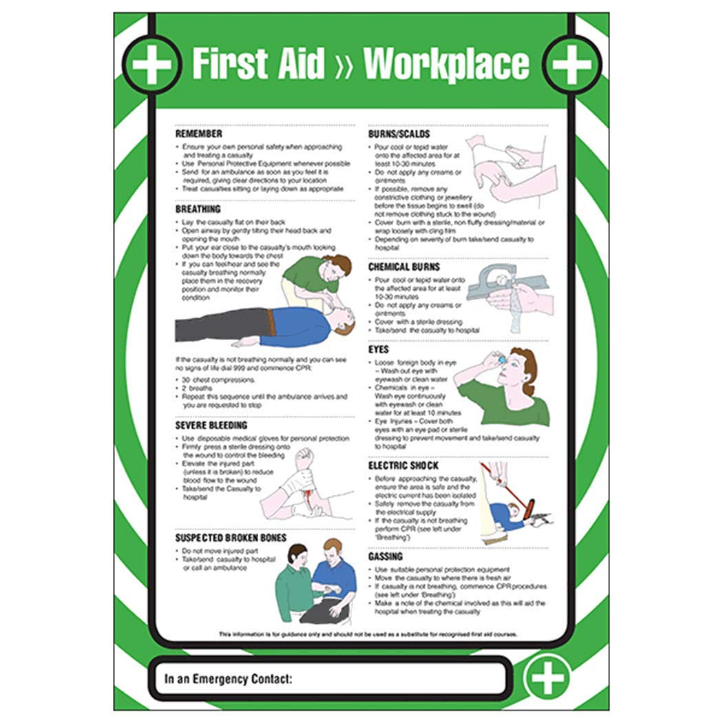 First Aid Workplace A2 Poster 420 x 594mm Standard VSafety First Aid Poster