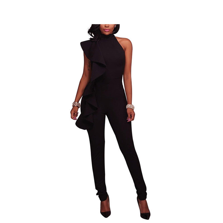 Jumpsuits Women New Autumn Sleevelss Chic Bodysuits Body Suits Z30 Black XL