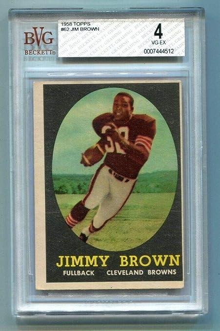 1958 Topps Football Jim Brown 62 Rookie Card Browns Beckett
