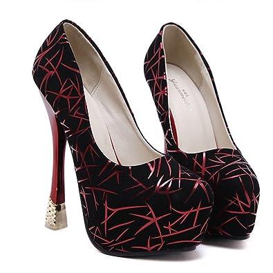 Xianshu Damen Muster Stiletto High Heels Flachen Mund Schuhe Pumps