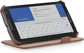StilGut® UltraSlim Case, custodia con funzione di supporto per Google Nexus 6, cognac
