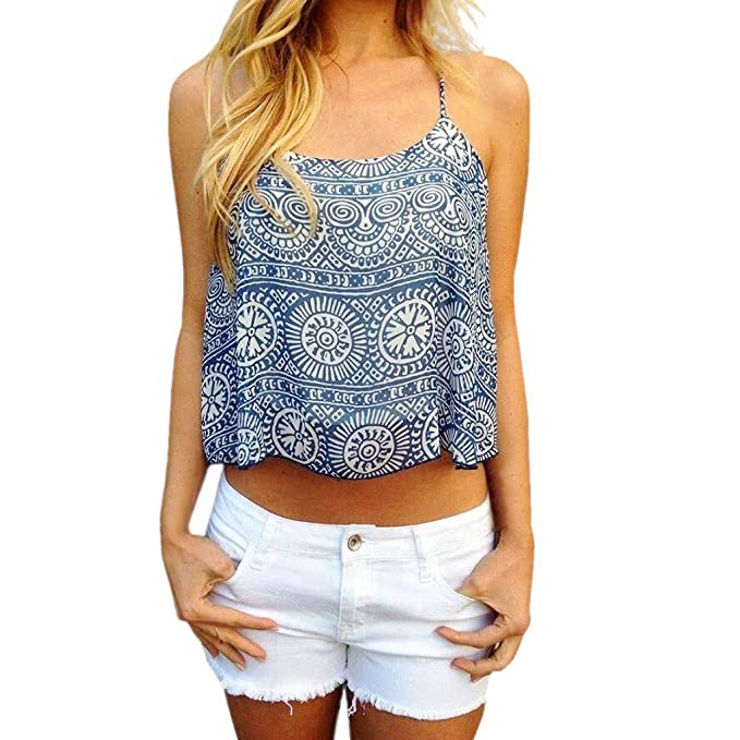 acc477c9 Women's Summer Boho Floral Printed Sleeveless Spaghetti Strap Tank Top  Camisole Vest (S, Blue