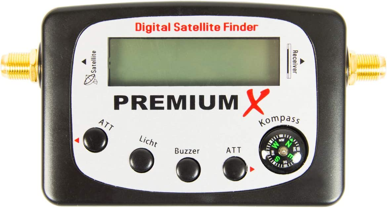 PremiumX PXF-22 - Localizador digital de satélite (pantalla LCD, señal sonora, brújula, buscador de satélite, medidor FullHD, HDTV 4K)