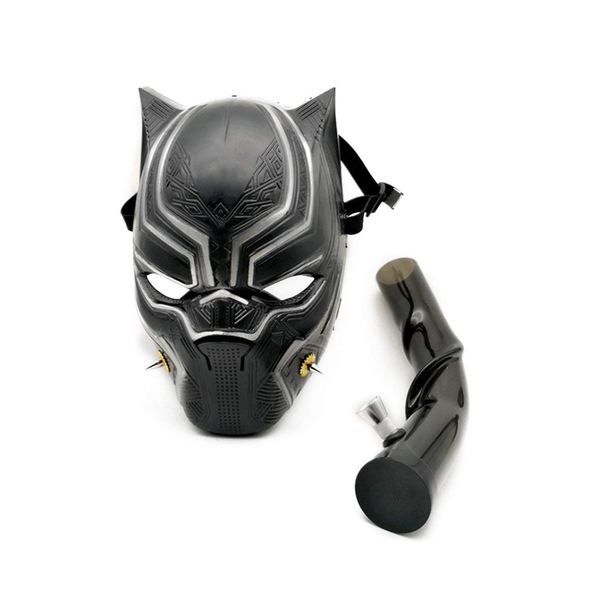 Heaviesk Lightweight Portable Size Black Leopard Shape Manpower Gas Mask Bong Smoking Water Pipes with Flexible Pipe