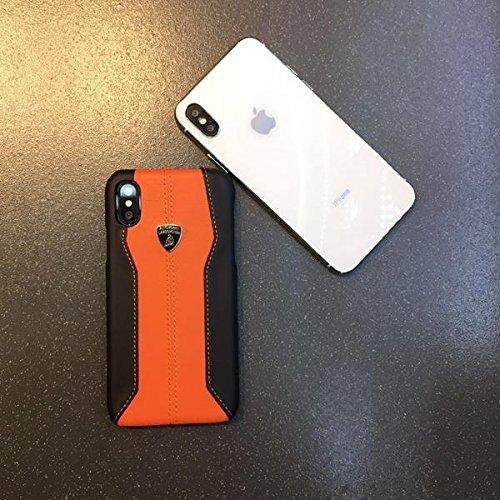 Automobili Lamborghini Huracan D1 Premium Leather Hard Case for iPhone X (Orange)