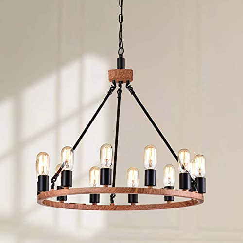 Maxax Industrial Rustic Farmhouse Wagon Wheel Chandelier,12-Lights Large Chandelier Round Kitchen Island Light