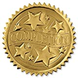 Embossed Completion Gold Foil Certificate Seals, 2 Inch, Self Adhesive, 102 Count