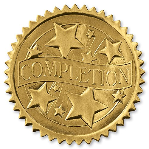 Embossed Completion Gold Certificate Seals, 102 Pack