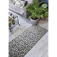 ORFA HOME Custom Size Hallway Runner Rug, Slip Resistant, 31 inch Wide X Your Choice of Length, Scroll, Grey, 31 inch X 8 feet