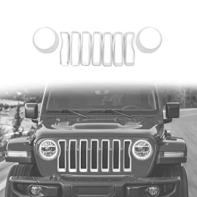 2020 Jeep Wrangler JL Mesh Grille Grill Insert+Headlight Turn Light Cover Trim(Silver): Automotive
