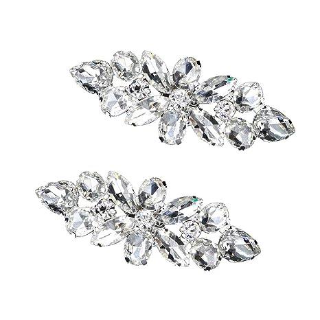 1 Broche de Cristal para Zapatos con Diamantes de imitaci/ón Accesorio para Zapatos de Boda para Mujer Plata Amosfun