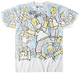 Liquid Blue Men's Simpsons Homer Time All Over Print Short Sleeve T-Shirt, White, X-Large