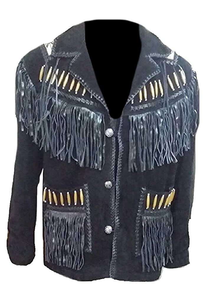 Stormwise Mens Cowboy Fringed and Beaded Leather Jacket