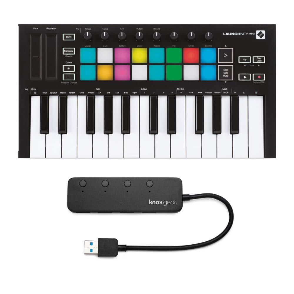 Novation Launchkey Mini MK3 25 Mini-Key MIDI Keyboard with Knox Gear 4-Port USB 3.0 Hub (2 Items) by Novation