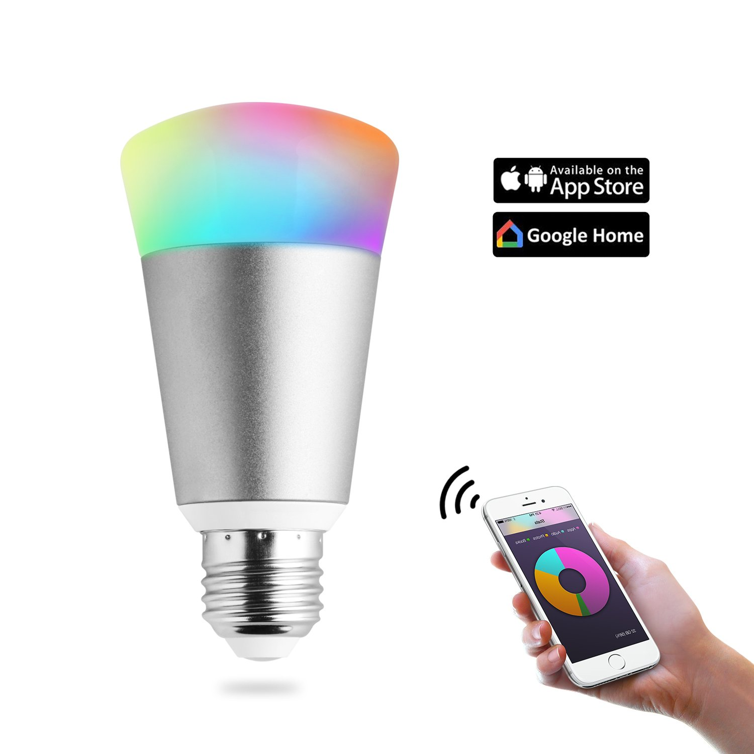 Light Bulbs Wifi Smart Led Bulb,Party Bulb wireless lamp Work with Amazon Echo dot & Google Home, Dimmable Multicolored Color Changing, IOS & Android Smartphone Remote Control (7W,Silver) by QQPOW