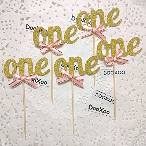 DOOXOO One Cupcake Topper Gold Gold Cupcake Toppers First birthday Cake Topper (One Topper)