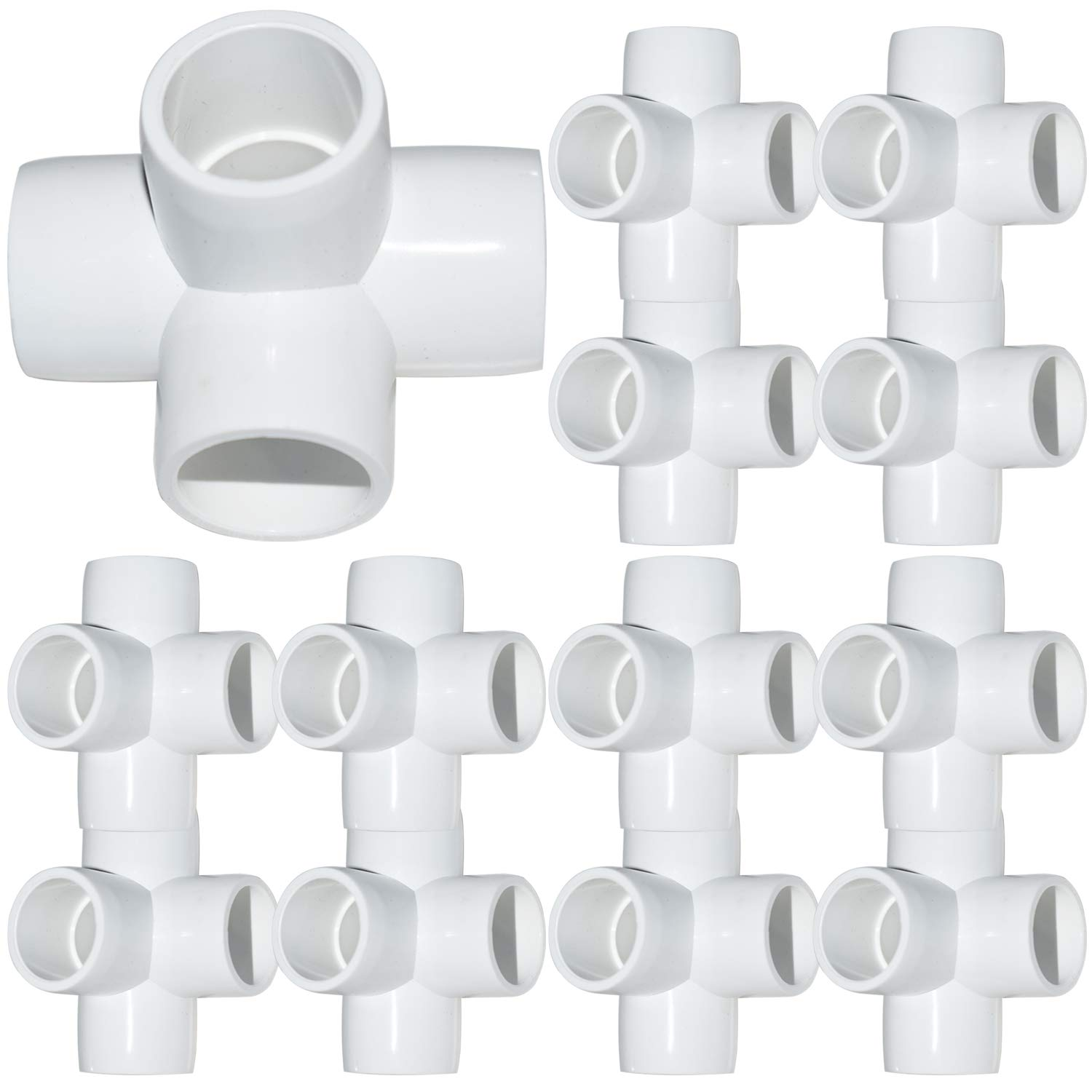 18Pack 4-Way Elbow PVC Fittings, 1/2Inch Furniture Grade PVC Fittings, Heavy Duty 4 Way Side Outlet Tees, Corner Fittings for Building PVC Furniture Greenhouse Shed Pipe Fittings Tent Connection