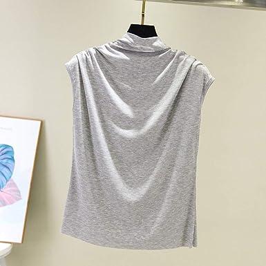Luckycat AlgodóN Camiseta sin Mangas para Mujer, Ropa Camiseta de Tirantes para Mujer del Tanque de Cuello Alto Redondo sin Mangas Camisetas Sueltas BáSico Color SóLido Chaleco: Amazon.es: Ropa y accesorios