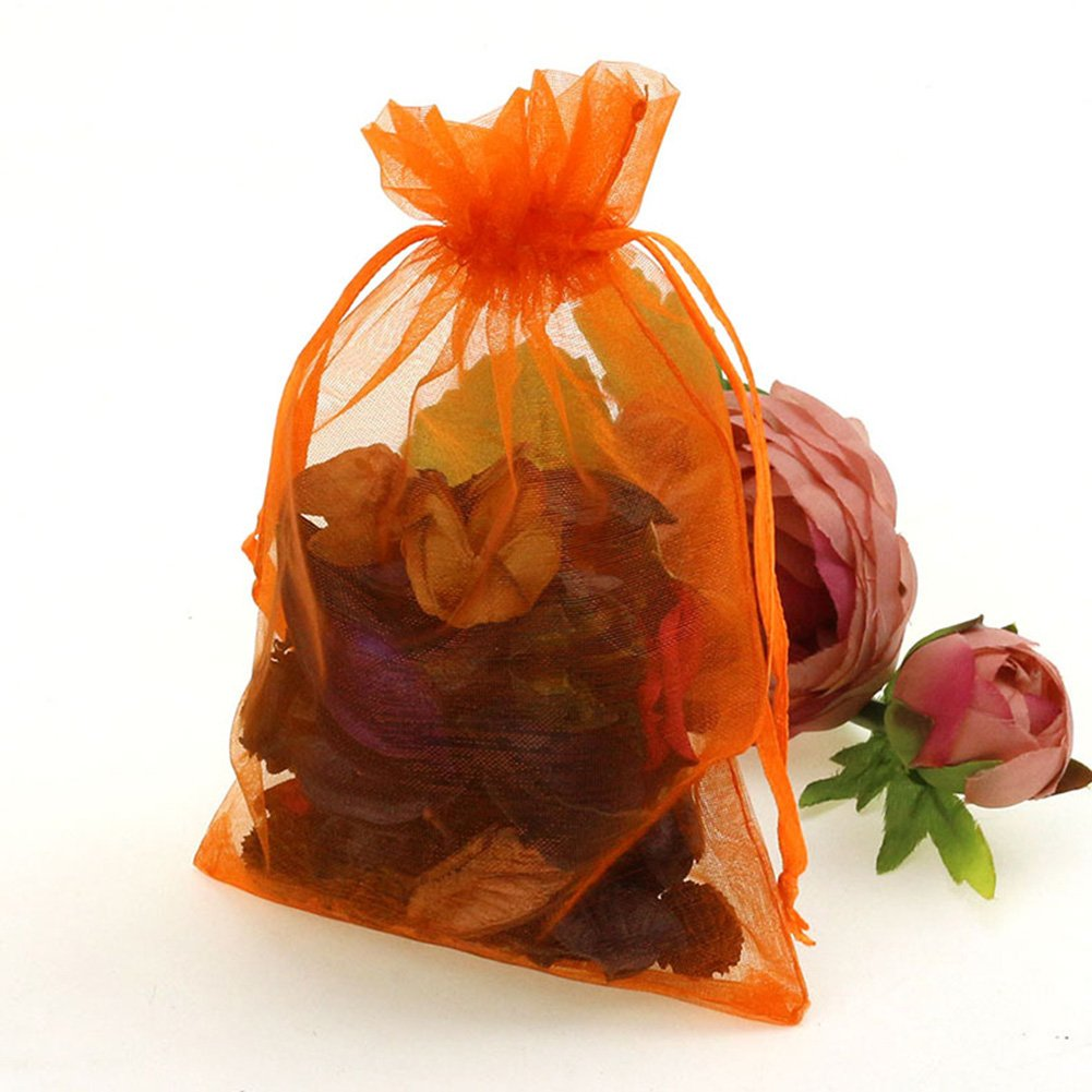 CMAJOR Organza Bags 100pcs Satin Drawstring Wedding Favor Jewelry Candy Watch Party Gift Pouch (4'' x 6'', Orange)