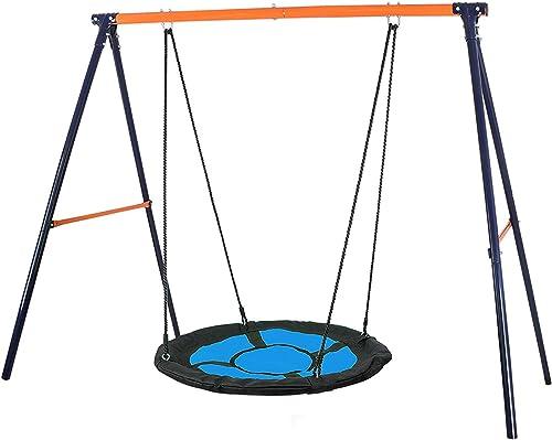 HomGarden Swing Set Combo 40 Kids Web Tree Swing Saucer Swing Heavy Duty All Steel A-Frame 70.9 Height Spinner Swing Set All-Weather