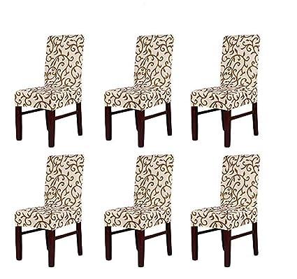 HMWish Pack de 6 Fundas sillas Comedor Elásticas, Fácil de Limpiar Extraíble Impresa Fundas de Silla