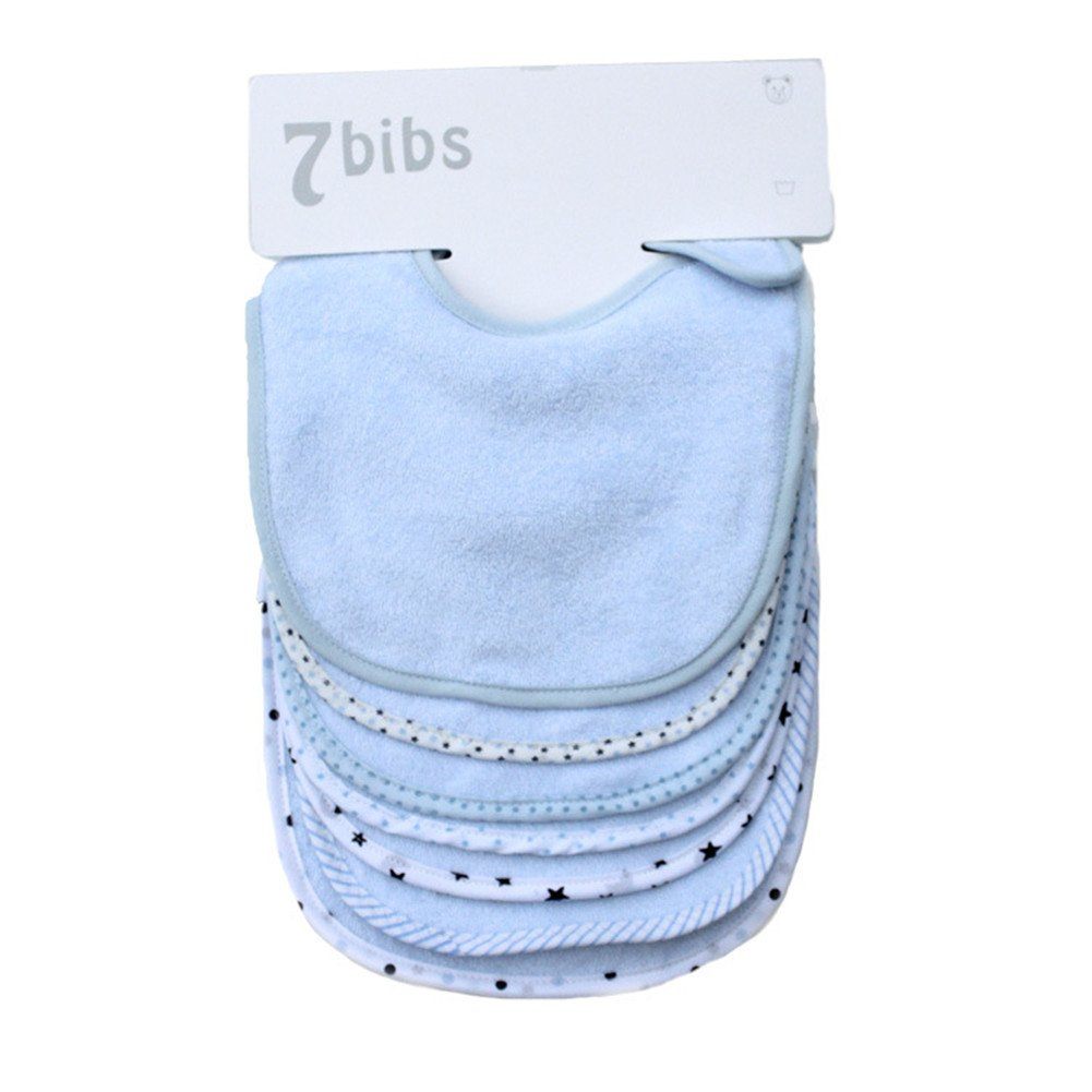 Baby's Double Layer Cotton with Waterproof Bandana Drool Soft Absorbent Drooling Bibs (7 Pieces)