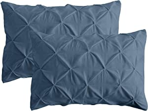 California Bedding Pinch Plated/Pintuck Pillow Cover Sham Lake Blue Solid/Plain Set of 2 Luxuries Decorative 800 TC Long-Staple Egyptian Cotton Full/Queen 20x30 Size, Soft Breathable Natural Cotton