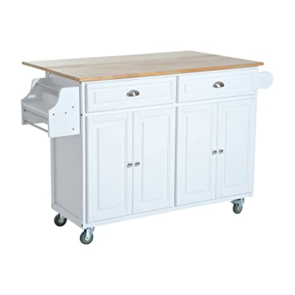 HomCom Rolling Kitchen Island Storage Cart W/Drop Leaf Top   White