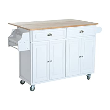 Amazon.Com - Homcom Rolling Kitchen Island Storage Cart W/ Drop