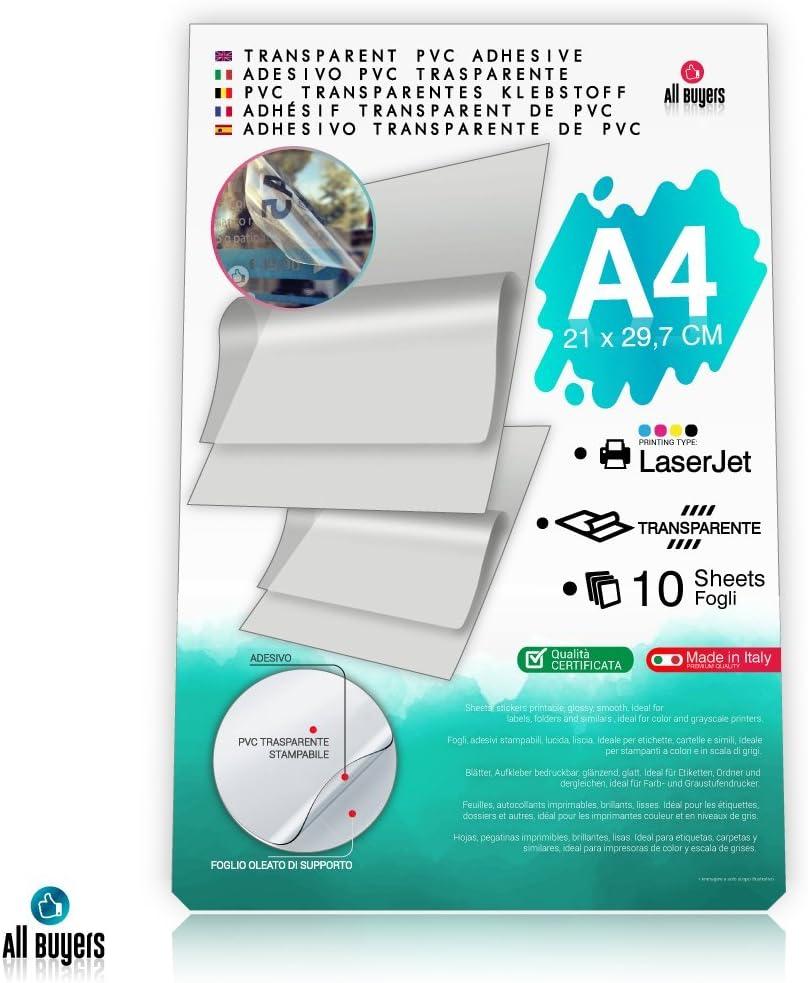Hojas de papel adhesivo de vinilo A4 (21 x 29,7 cm), papel ...