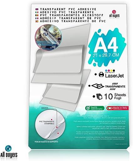Hojas de papel adhesivo de vinilo A4 (21 x 29,7 cm), papel brillante de vinilo 5, 10, 15, 20, 25 para impresoras láser, transparentes: Amazon.es: Oficina y papelería