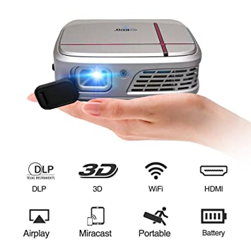 2019 WiFi Proyector DLP portátil 3D Mobile Wireless Pocket Mini ...