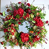 Wispy Red Flowers and Fruit Handcrafted Floral Wreath (20-22 inch)
