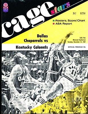 1967 11/21 Dallas Chaparrals vs Kentucky Colonels ABA basketball program