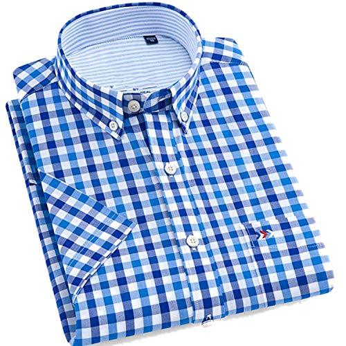 100% Cotton Men Short Sleeve Shirts Fashion Plaid Style Button-Down Collar Summer Oxford Men Casual Shirts,201907-16,Size Chart L (42)