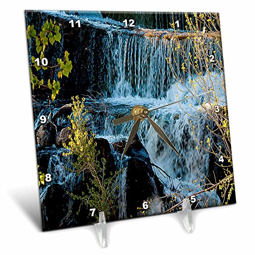 3dRose dc_49677_1 Fast Moving Waterfall Flowing Over Rocks at Baker Dam in Southern, Utah with Hues of Blue and Green Desk Clock, 6 by 6-Inch (Moving Waterfall)