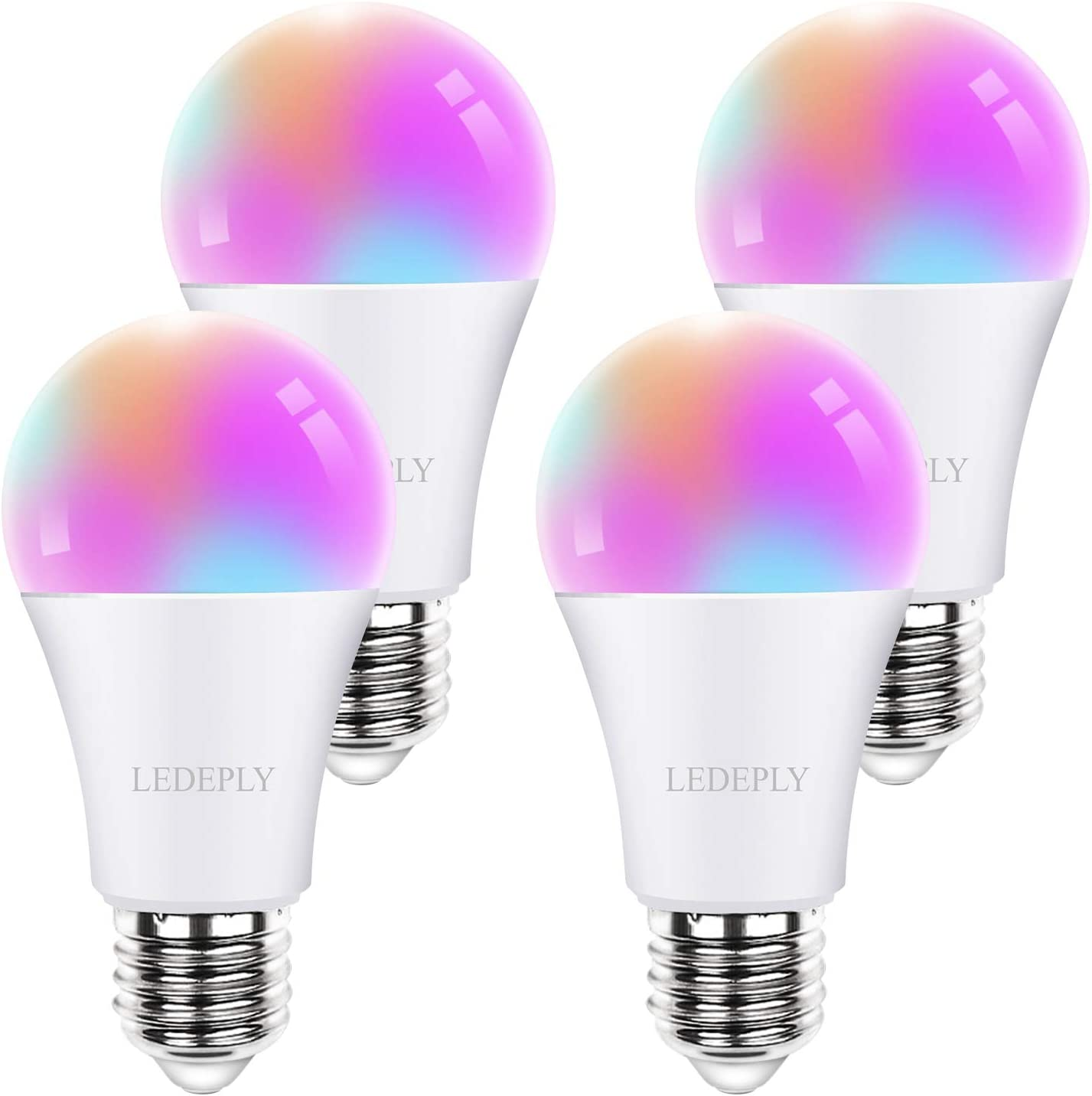 Smart Light Bulb, Compatible with Alexa, Google Home & SmartThings, LED RGB Color Changing WiFi Smart Bulb, A19 10W=60W, Tunable White 2700K-6500K, No Hub Required, 4 Pack, LEDEPLY