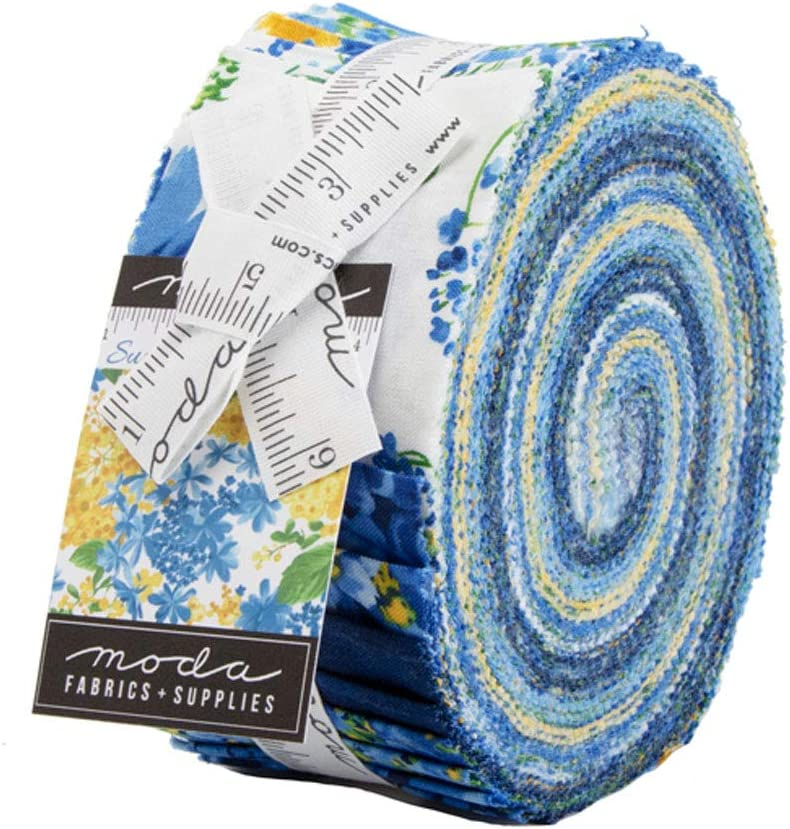 20 2.5 Inch Quilting Jelly Roll Green Floral 100/% Cotton Fabrics Strips Precut Quilt Squares