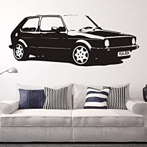 Ajcwhml Extraíble VintageL Coche Grande VW Golf GTI MK Classic Wall Art Decal Sticker Decoración del Hogar Arte Mural Papel Etiqueta de Coche 192x72cm: Amazon.es: Hogar