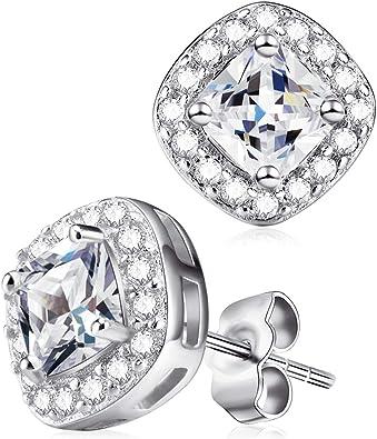 Women S925 Sterling Silver Earrings Crystal Zircon Ear Stud Allergy Free Earring Wedding Jewelry
