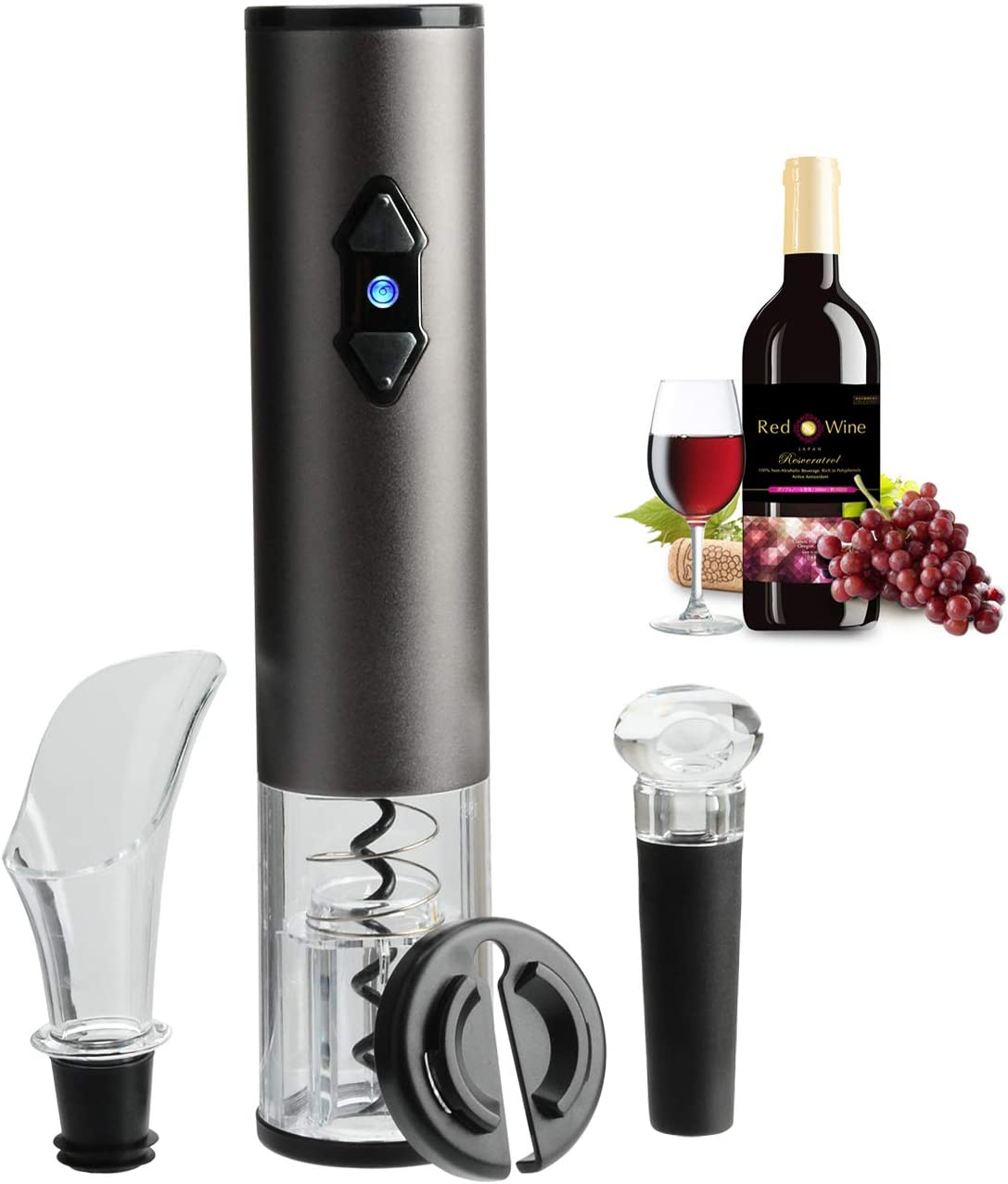 Electric Wine Opener, Rechargeable Automatic Corkscrew Wine Bottle Opener Stainless Steel with Foil Cutter Wine Pourer Vacuum Stopper Charger