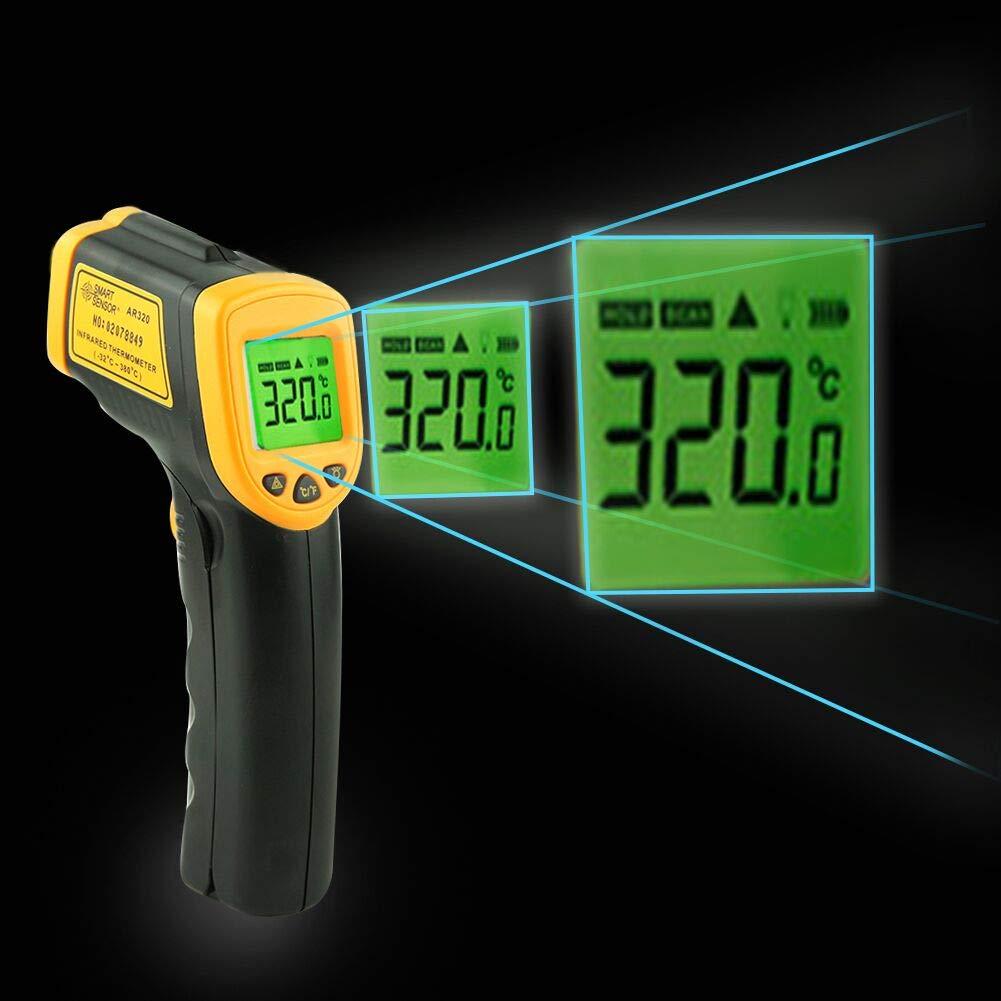 Yuede Termometro a Infrarossi, -50° C a 550° C Termometro Digitale Pistola Laser LCD Retroilluminato Senza Contatto per Cucina Forno Barbecue, Batteria Inclusa