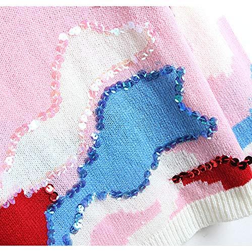 Shuo Da Maglia Hu Pink Rotondo Donna Lunghe A Wai In Scollo Maniche New Lan Paillettes Con rOnIZqrT