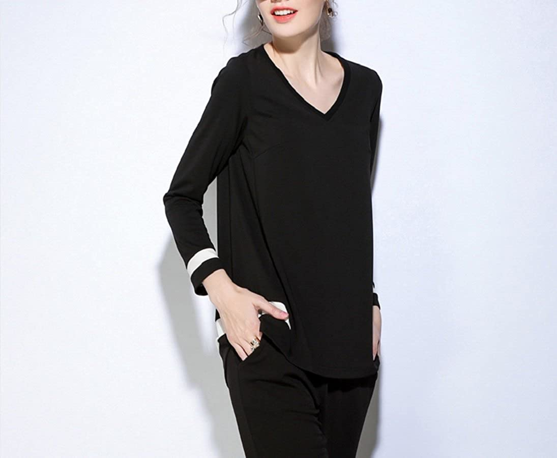 Womens Black White Tunic Top Long Sleeve Tracksuit Regular and Plus Sizes