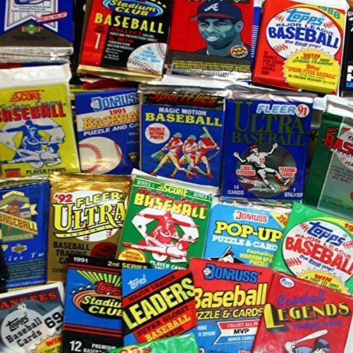 300 Unopened Baseball Cards Collection in Factory Sealed Packs of Vintage MLB Baseball Cards From the Late 80