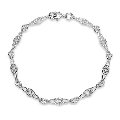 Heritage Sterling Silver Celtic Trio Knot Bracelet of Length of 17.8-18.4 cm YHamIC