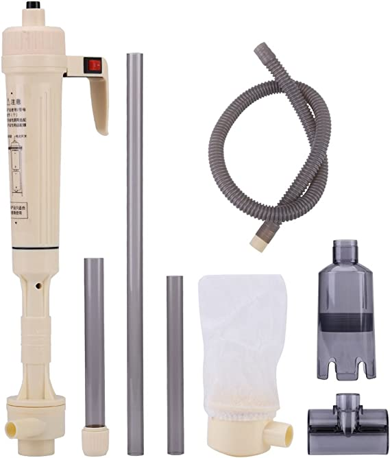 ZJchao Aquarium Gravel Cleaner, Height Adjustabld Electric Fish Tank Siphon Cleaning Water Changer Equiped with Extension Tube, Sand Algae Cleaner Filter