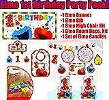 Elmo Turns One Birthday Party Supplies and Decorations Including Elmo Themed Birthday Bib, High Chair Kit, Birthday Banner, Candle Set, Room Decoration Kit (Bonus Party Straw Bundle!)