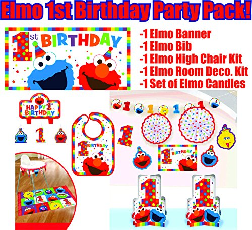- Elmo Turns One Birthday Party Supplies Decoration Bundle. Including Elmo Themed Birthday Bib, High Chair Kit, Birthday Banner, Candle Set, and Room Decoration Kit (Bonus Matching Paper Straw Pack)